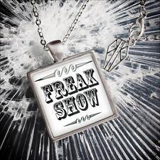 Retro Freak Show Circus Side Show USA Handmade Silver Oddity Pendant Necklace
