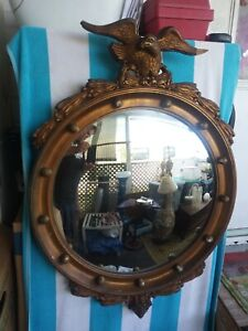 Antique Eagle Mirror, Gold Regency Federal Style American Eagle Oval Mirror
