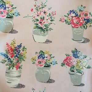 Cath Kidston Pink Flowerpots Cotton Duck Fabric FQ By the Metre