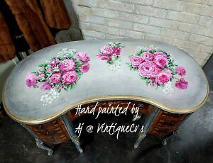 Antique Hand-Painted Heirloom Peony Kidney Writing Vanity Desk Chic & Shabby Wow