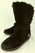 Timberland Wos Winter Boots 61643 US 7 M Black Suede Pull On Faux Fur Lined 3659