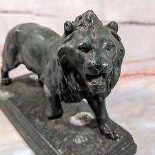 Vintage CH. VALTON Fabrication Francaise Paris France Iron Cast Lion Sculpture