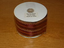 """Roll of Wired Edge Ribbon 2.5"""" x 10 Yards  Dark Red and Gold"""