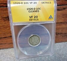 1926-D Winged Liberty Head or Mercury Dime ANACS : VF20 details : FREE SHIPPING
