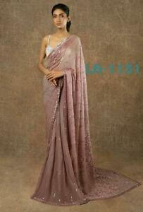 Bollywood Designer Georgette Saree Sequence Sari with Blouse Party wear Saree