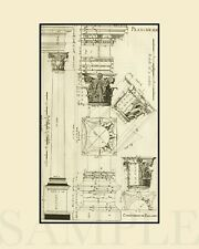 Vintage Technical Architecture Drawing Artwork Picture 8X10 New Art Print Decor