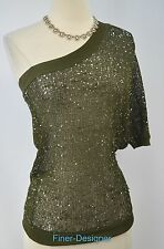 Arden B. Sweater Pullover loose knit top one shoulder silver sequin sexy XS NEW