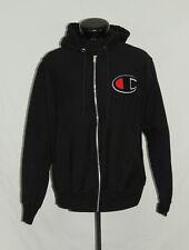 Champion Big C Logo Jacket Hoodie Hooded Full Zip M Reverse Weave Black Red