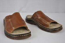 7M Dr Martens Brown Leather Open Toe Slide Mule Platforms Sandal Contrast Stitch