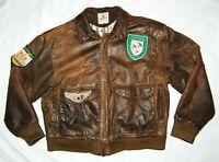 Airborne Paris Sport Club Men's Medium Vintage Leather Bomber Jacket Brown Korea