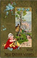 1909 POSTCARD WITH BEST EASTER WISHES, LITTLE GIRL WITH CHICKS, COUNTRY SCENE