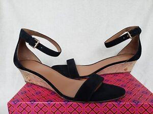 New Tory Burch Logo Savannah 11 Black Suede Low Wedge T-Strap Sandals Heels Shoe