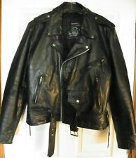Leather King Men's Black Leather Terminator Motorcycle Biker Jacket, Size 42
