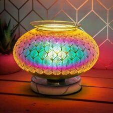 Glass Mirrored Oil Burner Wax Melt Tea Light Holder Oil Granules Free Gift