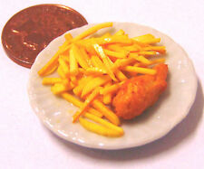 1:12 Scale Large Hand Made Fish & Chips On A 3.5cm Ceramic Plate Dolls House