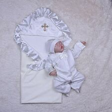 Newborn baptism outfit, white bodysuit and hat, baptism blanket, baptism clothes