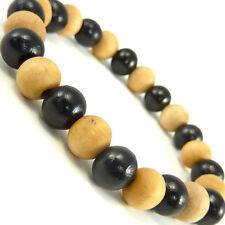 Unisex Cool Wooden Beads Fashion Friendship Bracelet Black White Wb114