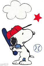 "5"" Snoopy baseball bat ball star cloud set sports fabric applique iron on"