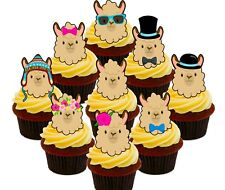 Llama Alpaca Party Pack 36 Edible Cup Cake Toppers, Fairy Bun Decorations Cute