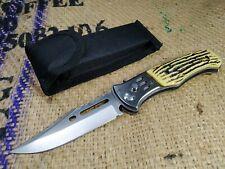 Vintage  Knife NEW Jackknife Folding Pocket Tourist Case Bone