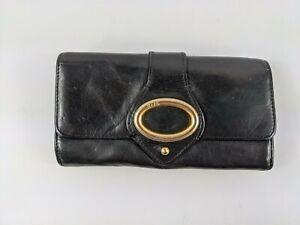 Ri2k Large Black Leather Purse 19cm X 10.5cm
