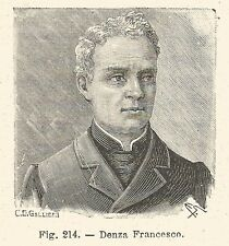 B1809 Francesco Denza - Incisione antica del 1925 - Engraving