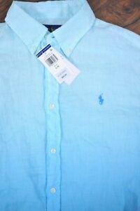 NWT Polo Ralph Lauren Linen LS Button Front Shirt Blue Ombre Women's Large L