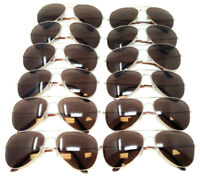 LOT 12 PIECES LARGE GOLD METALLIC FRAME BROWN LENSES PILOT AVIATOR SUNGLASSES
