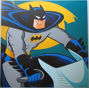 BATMAN w BATCYCLE SQUARE FACE PRINT DC Animated