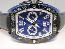 New Mens Aqua Master Joe Rodeo Swiss Blue Metal Diamond Watch .50 Ct