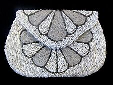 Vintage HAND MADE BEADED PURSE WITH MIRROR Butterfly Flower pattern