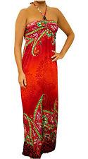 NEW Women Red Multi Color Summer Beaded Maxi Halter Long DRESS Juniors S M L