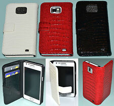 For Samsung Galaxy S2 i9100 Red Croc Design Wallet Credit Card Slot Case