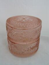 Exclusive Peach Tiara Sandwich Glass 3 pc. Jewelry Box by Indiana Glass