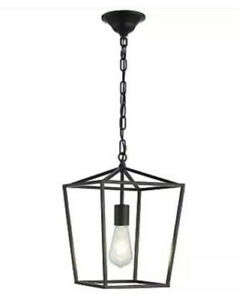 ANJIADENGSHI Pendant Light Lantern Iron Cage Adjustable Hanging Black