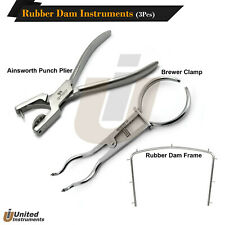 Dental Rubber Dam Kit Ainsworth Punch Plier Brewer Forceps Rubber Dam Frame 4