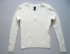 Womens GAP V Neck sweater Sz L rib knit design dinner semi dress winter warm
