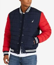 Nautica Men's Colorblocked Down Bomber Jacket- NAVY /RED -SMALL - BRAND NEW