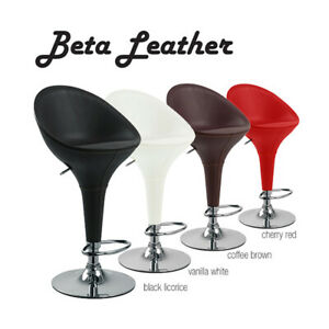 "BOMBO ""LEATHER"" STYLE HIGH BACK BARSTOOL ADJUSTING-BAR STOOL CHAIR-BETA LEATHER"
