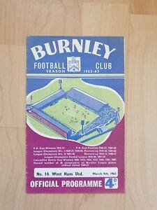 Burnley v West Ham United Match Programme 62/63