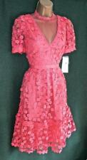 French Connection Uk10 Coral Pink Lace Caballo High Necked Fit&flare Dress