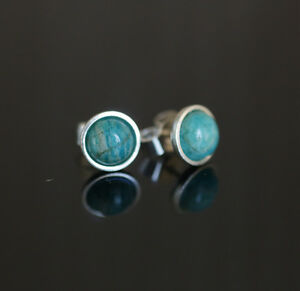 925 Sterling silver stud earrings with 6mm natural Russian Amazоnite gemstones