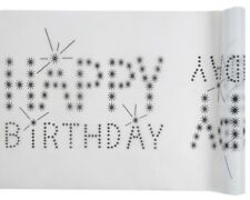 Tischläufer  White Happy Birthday
