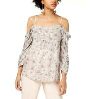 William Rast Womens Ada Floral Print Off-The-Shoulder Shirt Blouse Top BHFO 7493