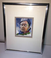Vintage Gouache Painting  Marlon Brando Type Character! Possibly Russian? Signed