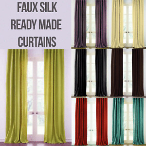 CLEARANCE Modern Faux Silk Eyelet Lined Pair Curtains - 7 Colours - Free Postage