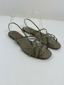 Pedro García Swarovski Crystal Satin Stappy Sandals in Pewter Size 39.5