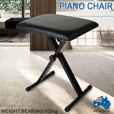 Portable Piano Stool Adjustable 3 Way Folding Keyboard Seat Bench Chair Black
