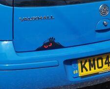 SCARY MONSTER PEEPER Funny Car/Van/Truck/Bumper/Window Vinyl Sticker - Red Eyes