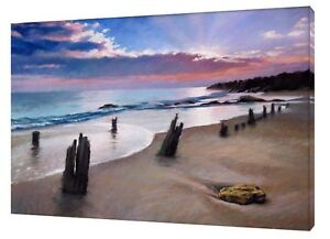 LANDSCAPE AND BEACH  DRAWN CHARCOAL SOFT PASTEL PRINT ON FRAMED CANVAS